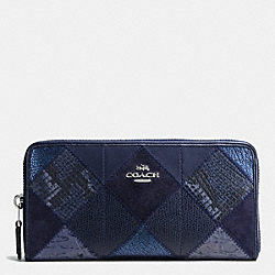COACH ACCORDION ZIP WALLET IN PATCHWORK SUEDE AND EXOTIC EMBOSSED LEATHER - SILVER/MIDNIGHT MULTI - F54021