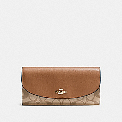 SLIM ENVELOPE WALLET IN SIGNATURE - IMITATION GOLD/KHAKI/SADDLE - COACH F54022