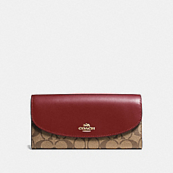 SLIM ENVELOPE WALLET IN SIGNATURE CANVAS - KHAKI/CHERRY/LIGHT GOLD - COACH F54022