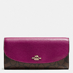 COACH SLIM ENVELOPE WALLET IN SIGNATURE - IMITATION GOLD/BROWN/FUCHSIA - F54022