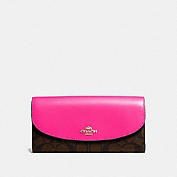 SLIM ENVELOPE WALLET IN SIGNATURE COATED CANVAS - IMITATION GOLD/BROWN - COACH F54022