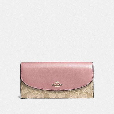 COACH SLIM ENVELOPE WALLET IN SIGNATURE CANVAS - light khaki/vintage pink/imitation gold - f54022