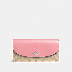 SLIM ENVELOPE WALLET IN SIGNATURE COATED CANVAS - f54022 - SILVER/LIGHT KHAKI/BLUSH