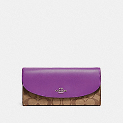 COACH SLIM ENVELOPE WALLET - SILVER/KHAKI/BERRY - F54022