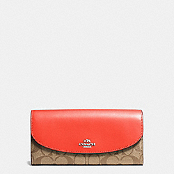 COACH SLIM ENVELOPE WALLET IN SIGNATURE COATED CANVAS - SILVER/KHAKI - F54022