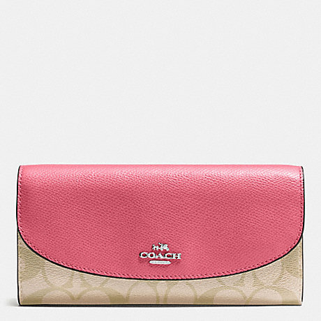 COACH f54022 SLIM ENVELOPE WALLET IN SIGNATURE SILVER/LIGHT KHAKI/STRAWBERRY
