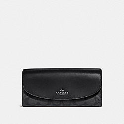 COACH SLIM ENVELOPE WALLET IN SIGNATURE CANVAS - BLACK SMOKE/BLACK/SILVER - F54022