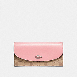 SLIM ENVELOPE WALLET - SILVER/KHAKI BLUSH 2 - COACH F54022