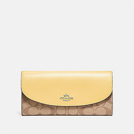 COACH SLIM ENVELOPE WALLET IN SIGNATURE CANVAS - khaki/vanilla/silver - f54022