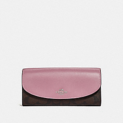 SLIM ENVELOPE WALLET IN SIGNATURE CANVAS - BROWN/DUSTY ROSE/SILVER - COACH F54022