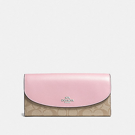 COACH SLIM ENVELOPE WALLET IN SIGNATURE CANVAS - LIGHT KHAKI/CARNATION/SILVER - F54022