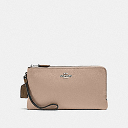 DOUBLE ZIP WALLET IN COLORBLOCK - STONE MULTI/SILVER - COACH F54051