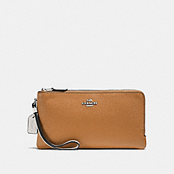 DOUBLE ZIP WALLET IN COLORBLOCK - LIGHT SADDLE CHALK/SILVER - COACH F54051