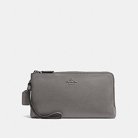 COACH DOUBLE ZIP WALLET - HEATHER GREY/DARK GUNMETAL - F54052
