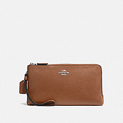 DOUBLE ZIP WALLET - SILVER/SADDLE - COACH F54052