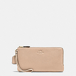 COACH DOUBLE ZIP WALLET IN PEBBLE LEATHER - IMITATION GOLD/BEECHWOOD - F54056