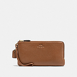 DOUBLE ZIP WALLET IN PEBBLE LEATHER - IMITATION GOLD/SADDLE - COACH F54056