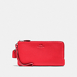 COACH DOUBLE ZIP WALLET IN PEBBLE LEATHER - SILVER/BRIGHT RED - F54056