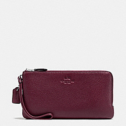 COACH DOUBLE ZIP WALLET IN PEBBLE LEATHER - SILVER/BURGUNDY - F54056