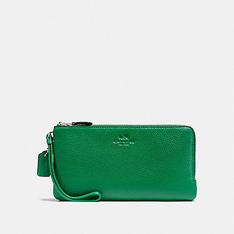 COACH DOUBLE ZIP WALLET IN PEBBLE LEATHER - SILVER/JADE - f54056