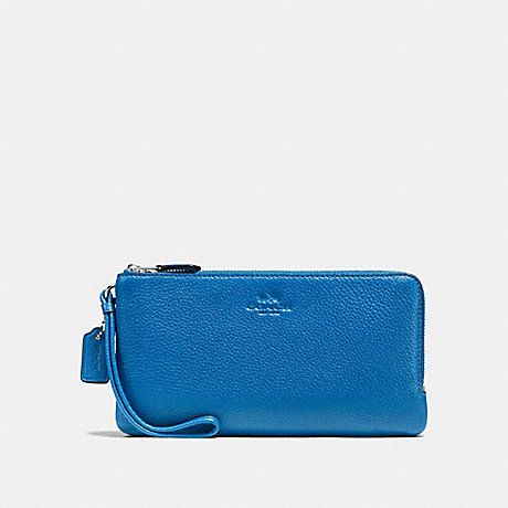 COACH DOUBLE ZIP WALLET IN PEBBLE LEATHER - SILVER/LAPIS - f54056