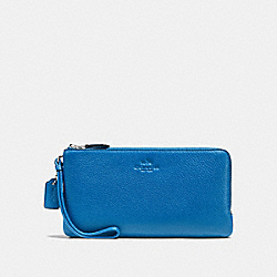 DOUBLE ZIP WALLET IN PEBBLE LEATHER - f54056 - SILVER/LAPIS