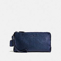 COACH DOUBLE ZIP WALLET IN PEBBLE LEATHER - SILVER/METALLIC MIDNIGHT - F54056