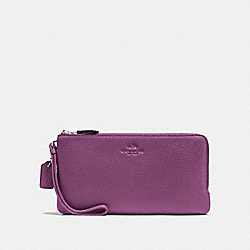 COACH DOUBLE ZIP WALLET IN PEBBLE LEATHER - SILVER/MAUVE - F54056