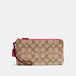COACH DOUBLE ZIP WALLET IN SIGNATURE - IMITATION GOLD/KHAKI BRIGHT PINK - F54057