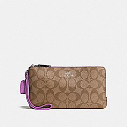 COACH DOUBLE ZIP WALLET IN SIGNATURE COATED CANVAS - SILVER/KHAKI - F54057