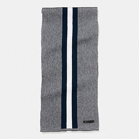 COACH KNIT VARSITY STRIPE SCARF - FOG/MIDNIGHT/CHALK - f54088