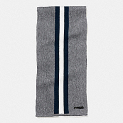 KNIT VARSITY STRIPE SCARF - FOG/MIDNIGHT/CHALK - COACH F54088