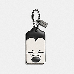 SQUINTING MICKEY HANGTAG IN GLOVETANNED LEATHER - f54090 - DK/Black White