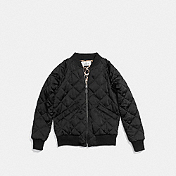 QUILTED BOMBER WITH LEOPARD LINING - f54128 - BLACK/NATURAL