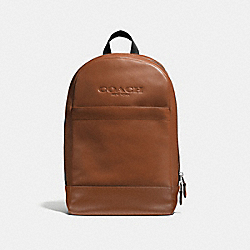 CHARLES SLIM BACKPACK IN SPORT CALF LEATHER - f54135 - DARK SADDLE