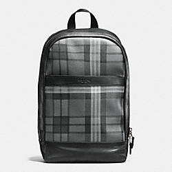 CHARLES SLIM BACKPACK IN PRINTED COATED CANVAS - f54139 - GREY/BLACK PLAID