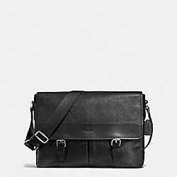HENRY MESSENGER IN PEBBLE LEATHER - BLACK - COACH F54149