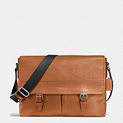 HENRY MESSENGER IN PEBBLE LEATHER - f54149 - DARK SADDLE