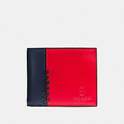 COACH MLB COMPACT ID WALLET WITH RIP AND REPAIR - BOS RED SOX - F54180