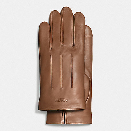 COACH BASIC LEATHER GLOVE - DARK SADDLE - f54182