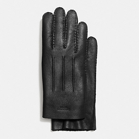 COACH f54184 SHEARLING LEATHER GLOVE BLACK