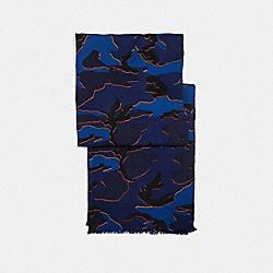 COACH LIGHTWEIGHT CAMO SCARF - BLUE/RED - F54190