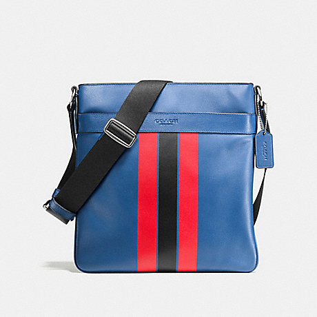COACH CHARLES CROSSBODY IN VARSITY LEATHER - INDIGO/BRIGHT RED - f54193