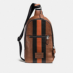 CAMPUS PACK WITH VARSITY STRIPE - DARK SADDLE/BLACK/BLACK ANTIQUE NICKEL - COACH F54206