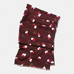 FIELD FLORA OBLONG SCARF - BURGUNDY - COACH F54245