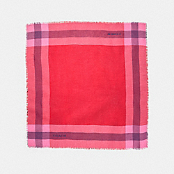 OUTLET WINDOWPANE CHALLIS SCARF - BRIGHT RED - COACH F54253