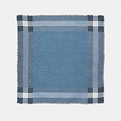 OUTLET WINDOWPANE CHALLIS SCARF - f54253 - CORNFLOWER