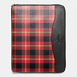 COACH TECH CASE IN PLAID PRINT COATED CANVAS - BLACK/RED PLAID BLACK - F54479