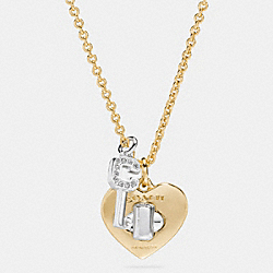 TURNLOCK HEART AND KEY LONG NECKLACE - GOLD/SILVER - COACH F54486