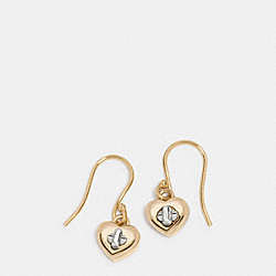 COACH TURNLOCK HEART WIRE EARRING - GOLD/SILVER - F54489